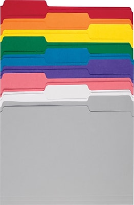 Staples® Assorted Color File Folders, 3 Tab, Letter, 250 Box