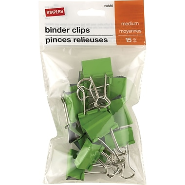 Staples® Medium Binder Clips, 15/Pack