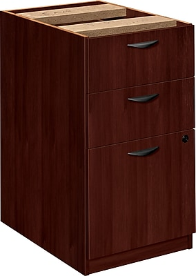 basyx™ by HON BW 3-Drawer Pedestal File, Mahogany