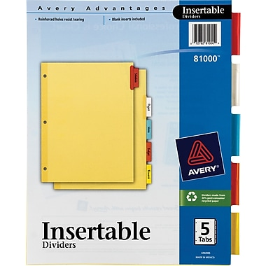 Avery® Insertable Multicolored 5 Tab Dividers