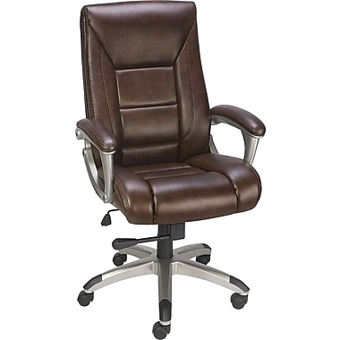 Staples Karston Bonded Leather Mid-Back Managers Chair, Brown