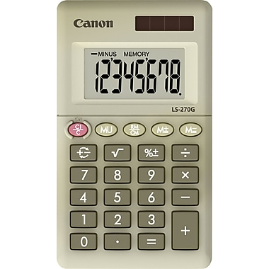 Canon® LS-270G Green Display Calculator, 8-Digit LCD Display