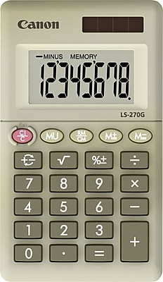 Canon® LS-270G Green Display Calculator, 8-Digit LCD Display