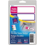"""Avery® - Mini-étiquettes d'identification flexibles, """"Hello/Bonjour"""", couleurs brillantes"""
