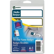 "Avery® Flexible Mini Name Badge Labels, ""Hello/Bonjour"", Muted Colours"