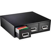 """MMF Steelmaster 3-Drawer Index Card File, Black, Holds 3"""" x 5"""" Cards, 4,500 Card Capacity"""
