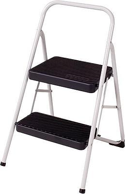 Cosco® Two-Step Folding Step Stool, 200 lb. Capacity, Platinum, 17 3/8