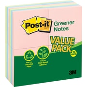 "Post-it® Recycled Notes, 3"" x 3"", Helsinki Collection, 24 Pads/Pack (654-RP24AP)"
