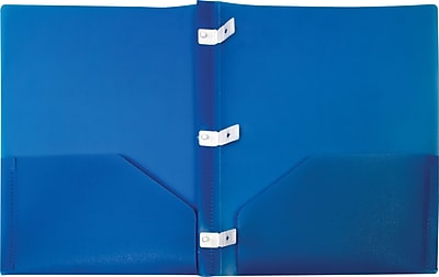 Storex 2-Pocket Poly Folder with Plastic Prongs, Blue (50313U18C)