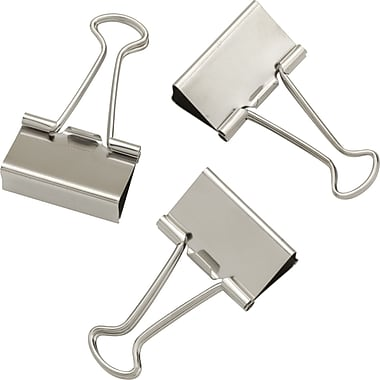 Staples Satin Silver Metal Binder Clips, Medium, 1 1/4