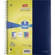 "Staples Accel Durable Poly Cover Notebook, Wide Ruled, Blue, 8"" x 10-1/2"", 12 pack"