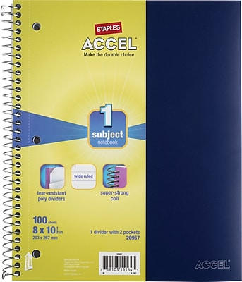Staples® Accel Durable Poly Cover Notebook, Wide Ruled, Black, 8
