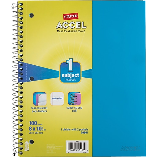 """Staples Accel Durable Poly Cover Notebook, Wide Ruled, Teal, 8"""" x 10-1/2"""", 12 pack"""