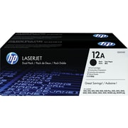 HP 12A (Q2612D) Black Original LaserJet Toner Cartridges, 2/Pack