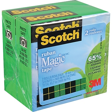 Scotch™ Plant Based Magic Tape, 19mm x 22.8m, 2/Pack