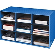 """Fellowes 9-Shelf Storage Organizer, 16""""H x 28 1/4""""W x 13""""D, Blue"""
