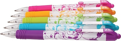 Zebra Pen Z-Grip Retractable Ballpoint Pen, 1.0mm Medium Point, Floral Assorted 5pk