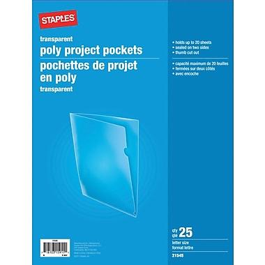Staples® - Chemises à projet en poly, format lettre, transparentes, paq./25
