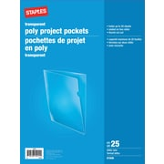 Staples Poly Project Pockets, Letter Size, Clear, 25/Pack