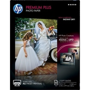 "HP Premium Plus Photo  Paper, 8 1/2"" x 11"", Soft Gloss, 50/Pack"