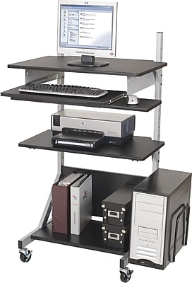 Balt Alekto Mobile Compact Sit-Stand Workstation, Black/Silver, 27 1/2