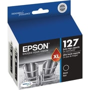 Epson 127 Black Ink Cartridge, Extra High Yield, 2/Pack (T127120-D2)