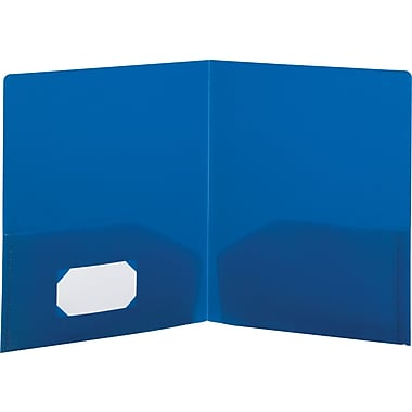 Storex Recycled Poly 2-Pocket Folders, Blue