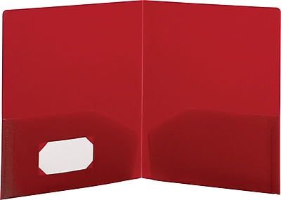 Storex Eco-Friendly Two-Pocket Folder, 100% Recycled, Red (50110U25C)