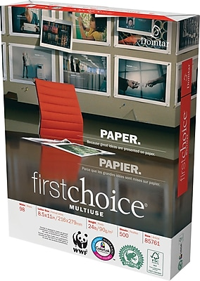 Weyerhaeuser First Choice Multi-Purpose Paper, LETTER-Size, 98/110+ US/Euro Brightness, 24 Lb., 8 1/2