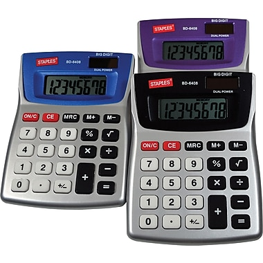 Staples BD-6408 8-Digit Metallic Desktop Calculator