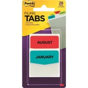 Post-it® Preprinted Month Tabs, Assorted Colors, 28 Tabs/Pack (686MONTH)