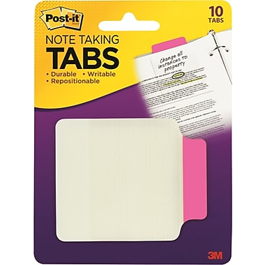 Post-it® Durable Note-Taking Tabs, Pink, 2-3/4