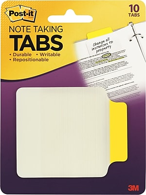 Post-it® Durable Note-Taking Tabs, Yellow, 2-3/4