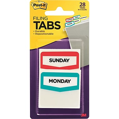 Post-it® Preprinted Day Tabs, Assorted Colors, 28 Tabs/Pack