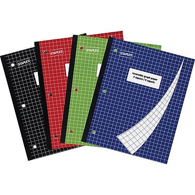 Staples® 4-Square/5-Square Graph Notebook, 8 1/2