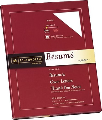 Southworth® 100% Cotton Resume Paper, White, 8 1/2