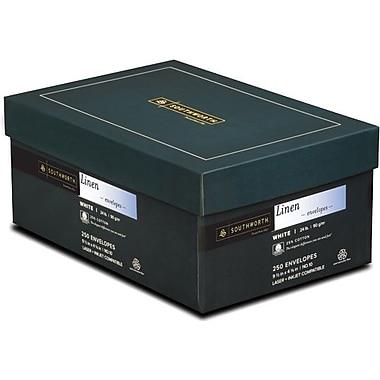 SOUTHWORTH Linen Envelopes, #10, 24 lb., Linen Finish, White, 250/Box