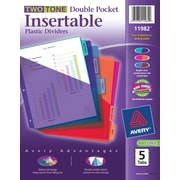 Avery® Two Tone Double Pocket Insertable Plastic Tab Dividers, 5-Tab