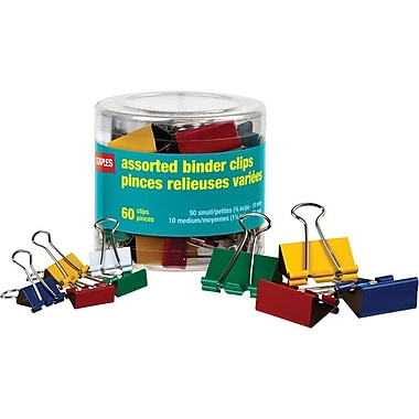 Staples® Assorted Binder Clips, Classic Colours & Sizes, 60/Tub