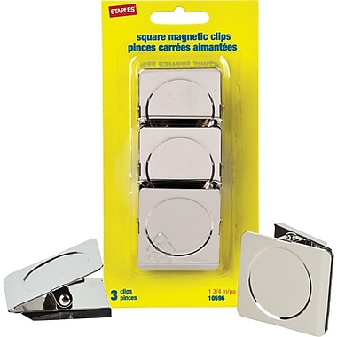 "Staples® 1-3/4"" Square Magnetic Clips, Nickel, 3/Pack"