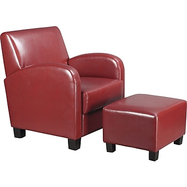 OSP Designs® Office Star Faux Leather Club Chair W/ Ottoman, Crimson Red