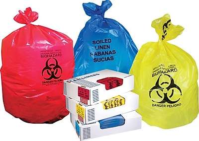 Heritage, Healthcare Printed Bags/Liners, 7-10 Gallon, 24x23, Low Density, 1.3 Mil, Red, 500 CT