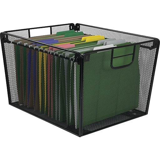 Staples 21579 Mesh Metal Tabletop File Holder Black Staples