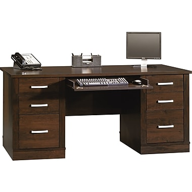 Sauder Office Port Executive Desk, Dark Alder