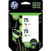 HP 75 Tricolor Ink Cartridge (CZ070FN), Twin Pack