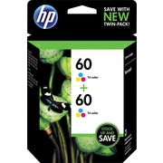 HP 60 Tri-color Original Ink Cartridges, Multi-pack (2 cart per pack)