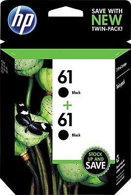 HP 61 Black Original Ink Cartridges, Multi-pack (2 cart per pack)