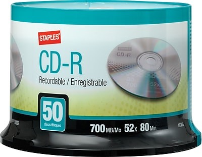 Staples 10365 700MB CD-R, Spindle, 50/Pack