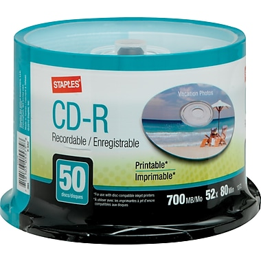 Staples® - CD-R 52x 700 Mo/80 min., imprimables, paq. cyl./50