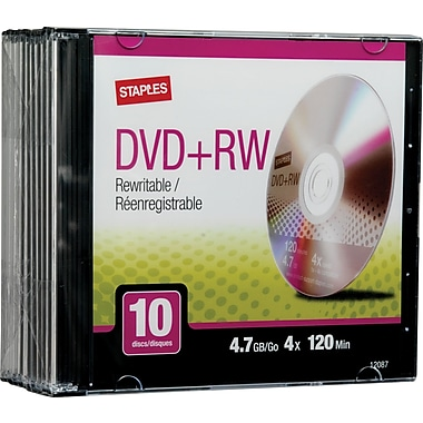 Staples 560849 4.7GB DVD+RW, Slim Jewel Cases 10/Pack